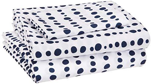 AmazonBasics Kid's Sheet Set - Soft, Easy-Wash Microfiber - Twin, Blue Dotted ()