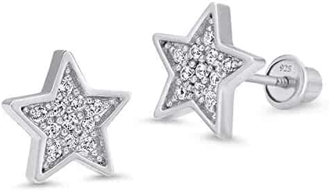 1aabb9dc0 925 Sterling Silver Rhodium Plated Star Pave Cubic Zirconia Screwback Baby  Girls Earrings