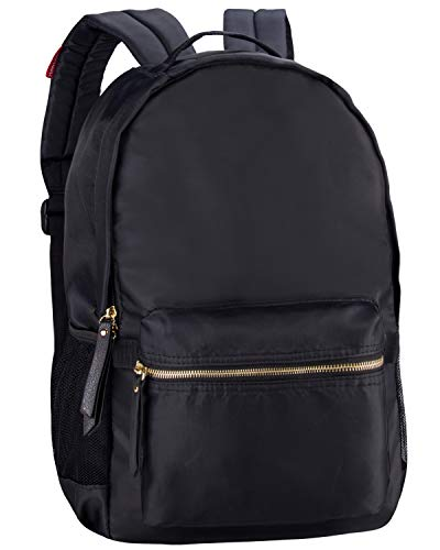 (HawLander Women's Laptop Backpack School Bag Nylon Daypack Lightweight and Waterproof Fits 14 Inch Laptop Black One Size )