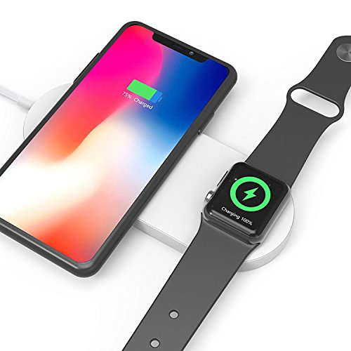 Wireless Charger, Niukamo 2 in 1 Fast Dual Charging Pad Compatible with Apple Watch/iPhone, iWatch Series 3/2, iPhone X, iPhone 8 Plus, iPhone 8, Galaxy Samsung Note 8, S8 Plus, S8, S7 by niukamo