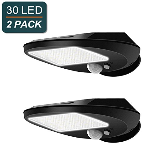 Solar Lights Outdoor, EMIUP Super Bright 30 LED Solar Motion Sensor Security Lights, Waterproof Wireless for Driveway Garden Wall Deck Yard Patio Stairway (30 LED, 2 Pack) by EMIUP