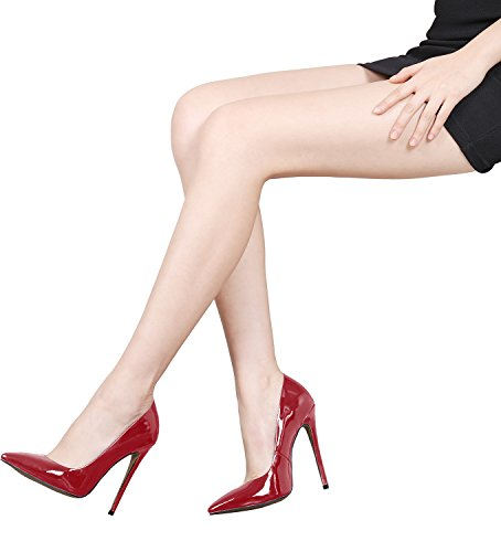 SexyPrey Women's Large Size Pointed Toe Stiletto Heels Solid Patent Leather Elegant Court Shoes Crimson D0tFYT