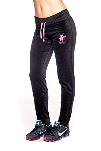 Beverly Hills Polo Club Womens Velour Sweatpants with Back Pocket (BHP-221)-Black / Pink-Medium