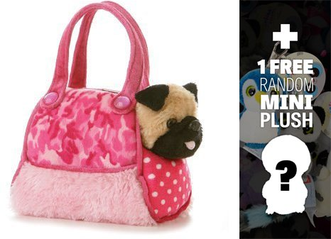 (Pink Camo: Fancy Pals Mini-Plush Purse Pet Carriers Series + 1 FREE Aurora Mini-Plush Charm Bundle [325012])