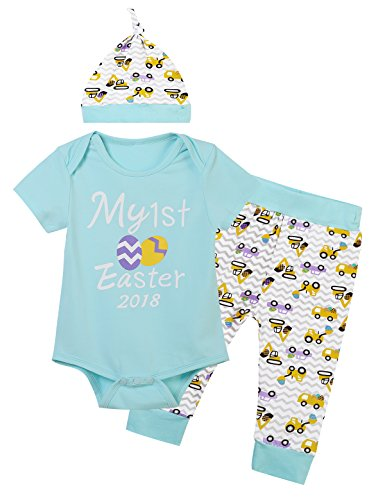 Baby Boys Girls Outfit Set Cute Easter Eggs Romper Funny Pants with Hat (Blue, 3-6 (Easter Baby Boy Outfits)
