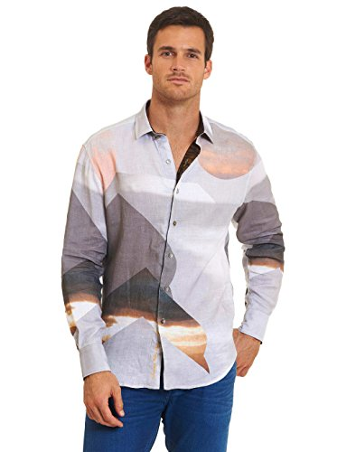 Robert Graham Sahara Desert Limited Edition Long Sleeve Woven Shirt Grey Large by Robert Graham