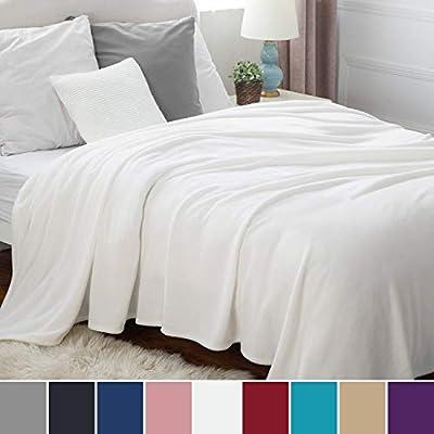 Bedsure Plaid Couverture Polaire Blanc Couvre-