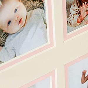 First Year Newborn Baby Collage Keepsake Picture Frame for Photo Memories with Double Beige Mat and 12 Slots 2×2 – Pink
