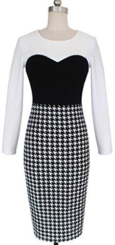 U-shot Ladies 'bloque de color de pata de Chic oficina pelota de noche vendaje vestido