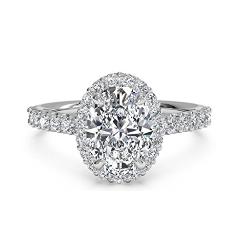 1.30 Ct Oval Moissanite Diamond Engagement Ring 925 Sterling Silver White...