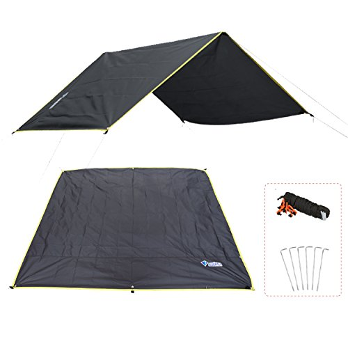 (Azarxis Ground Cloth for Tent Tarp Footprint Camping Backpacking Floor Saver Groundsheet Waterproof Sand Free Picnic Hiking with Stakes Rope Carry Bag (Black, M - 5.91x7.22ft))