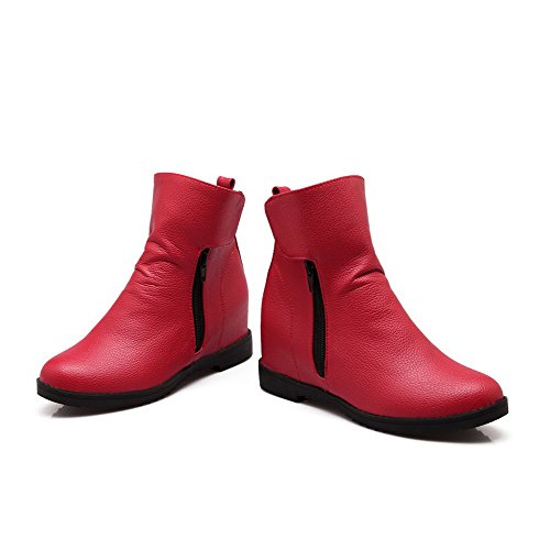 Botas Caña Rojo Tacón Pu Medio Mujeres Baja Cremallera AllhqFashion 0qwEgFzx0