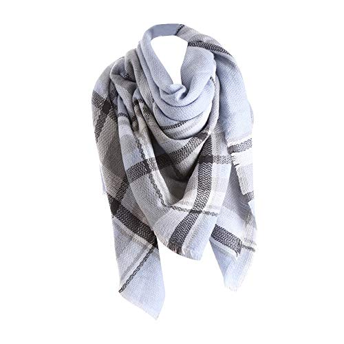 Plaid Scarfs for Women Hot Sale, deatu Clearance Ladies Teen Girl Fall Winter Color Stitching LongShawl Soft Neck Scarf(Light Blue)