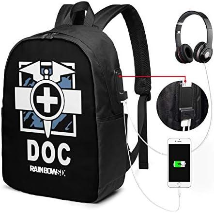 ビジネスリュック レインボーシックス シージ ゲームグッズ DOC メンズバックパック 手提げ リュック バックパックリュック 通勤 出張 大容量 イヤホンポート USB充電ポート付き 防水 PC収納 通勤 出張 旅行 通学 男女兼用