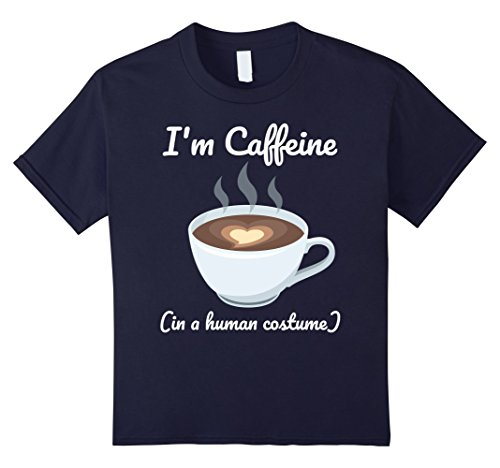Kids I'm Caffeine in a Human Costume Funny T-shirt 12 Navy - Cup Of Joe Halloween Costume
