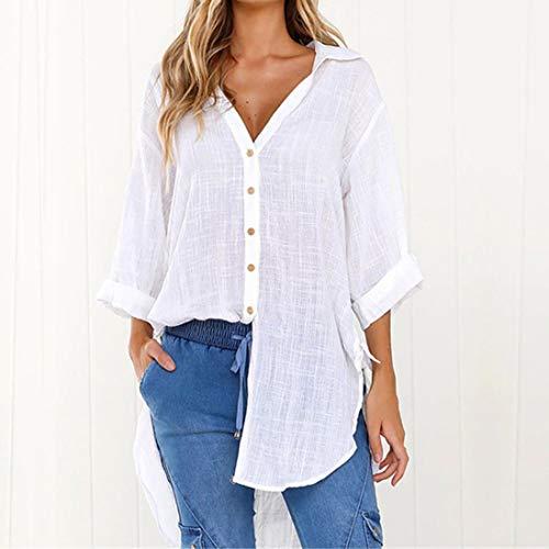 Coton Tee Shirt Manche Longue Femme a en Blouse Blanc Bouton Chemise HqxUzFRZw