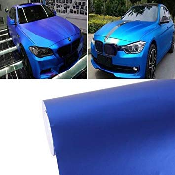 Uniqus 5m  0.5m Ice bluee Metallic Matte ICY Ice Car Decal Wrap Auto Wrapping Vehicle Sticker Motorcycle Sheet Tint Vinyl Air Bubble Free(Dark bluee)