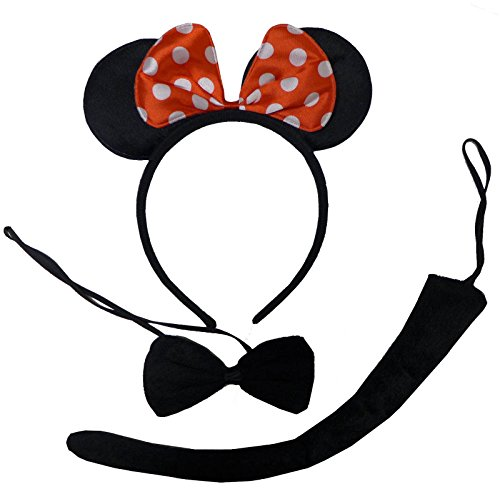 [Plush Minnie Mouse Ears Bow & Tail Black Red White Fancy Dress Set Adult Child] (Mouse Ears And Tail Costumes)