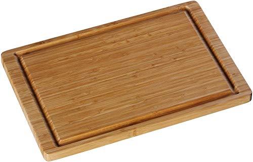 WMF Schneidebrett Bambus natur, 38 x 25 x 1,9 cm, Holzbrett rechteckig – Tranchierbrett mit Saftrille – Küchenbrett…