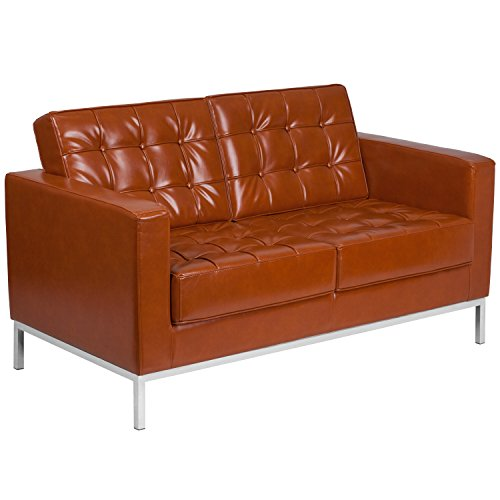 Flash Furniture HERCULES Lacey Series Contemporary Cognac Leather Loveseat with Stainless Steel -
