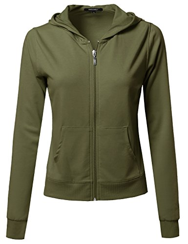A Classic French Terry Zip Up Hoodie Olive L