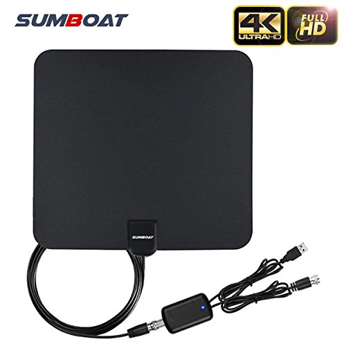TV Antenna, SUMBOAT Indoor Digital Amplified TV Antenna 50 Miles Range Adjustable Amplifier Signal Booster Support 4K 1080p 15ft Coax Cable - Black