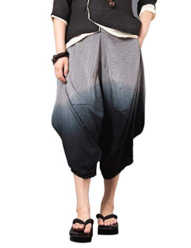 Pants Degradado Pantalones Pierna Color Linen Estilo para Novio Pantalones Casual Zhhlaixing Retro Ancha Suelto Lino de Señoras aB4AvA