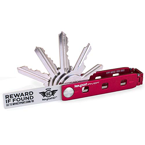 Keyport Pivot Compact Key Organizer - Smart Key Holder & Modular EDC Keychain Multi-Tool - Compact Key Holder is a Modern Swiss Army Keychain Tool with Built-in Lost & Found (Red)