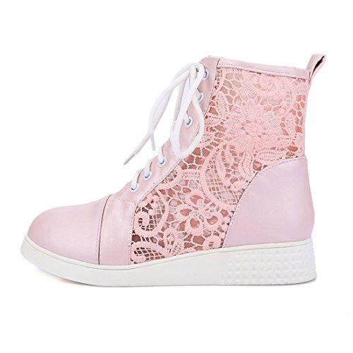 YE Damen Flache Ankle Boots Sommer Stiefel mit Schnürung und Spitze Bequem Elegant Sommer Schuhe Rosa