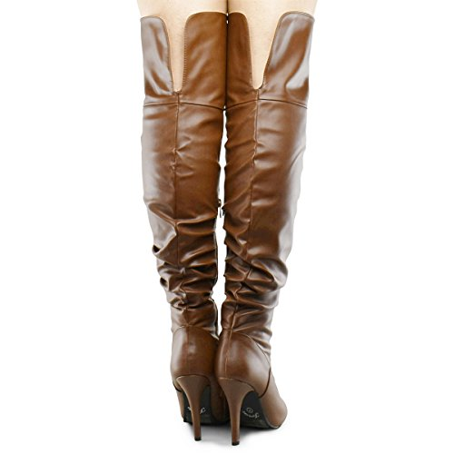 Forever Link Focus-33 Womens Fashion Stylish Pull on Over Knee High Sexy Boots Premier Tan 0UkO3BHn