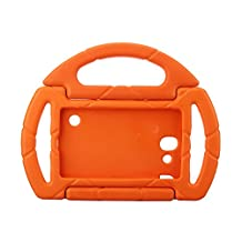 Kids Proof Samsung Galaxy Tab 3/P3200 Lite Case Durable Silicone Protective Cases with Carrying Steering Wheel for Samsung Galaxy Tab3 Lite Tablet 7 Inch Screen NOT Fit For 8 Inch (orange)