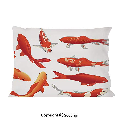 (Ocean Animal Decor Bed Pillow Case/Shams Set of 2,Legendary Koi Fish Band Chinese Good Fortune and Power Icon Tranquil Queen Size Without Insert (2 Pack Pillowcase 30