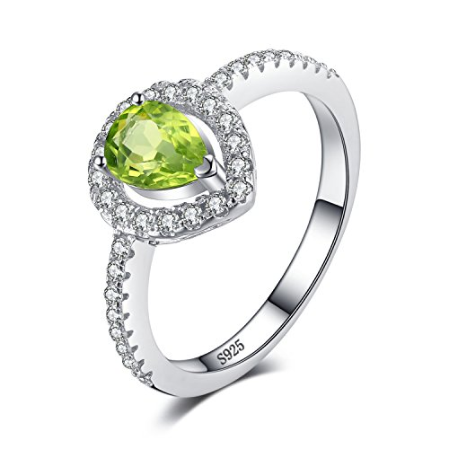 JewelryPalace Pear 0.8ct Natural Peridot 925 Sterling Silver Ring Size 7