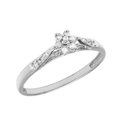 (0.10 Carat (ctw) Sterling Silver Round Diamond Solitaire Cluster Flower Engagement Promise Ring - Size 7)