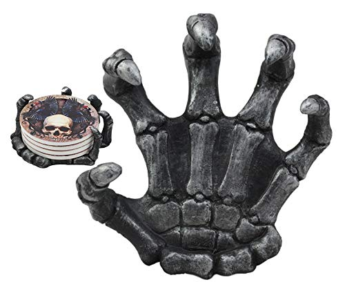 (Ebros Gothic Alchemy Clutch of The Dead Skeleton Hand Resin Coaster Figurine Holder with 4 Skull Raven Tile Coasters Set Furniture Protector Home Decor Statue)