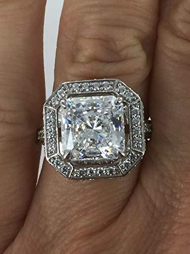 Designer 4 CTW Princess & Clear Round CZ Silver Ring 7 NJ-1268