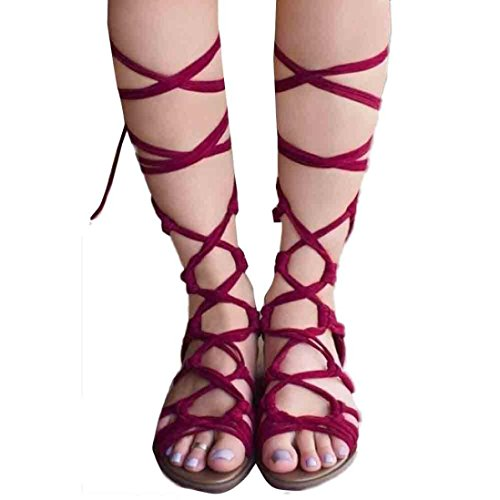 HARRYSTORE 2017 Súper caliente moda encantadora correas zapatos altos botas sandalias mujeres bohemio verano casual zapatos Rojo