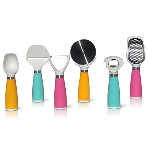 Kitchen Set Gadgets Tools Set w/ Opener Peeler Slicer Cutter Grater Scooper 6 Piece Set Kitchen Utensils in Pink, Aqua and (Ice Cream Scoop Pastel)