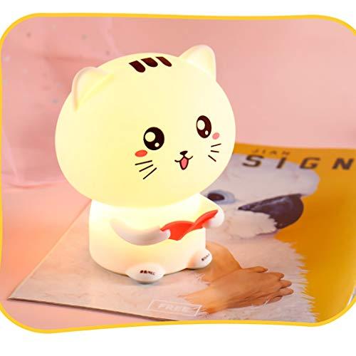 NszzJixo9 Kids Night Light Cute Cat Lights Organic Silicone Night Light USB Rechargeable Bedside Lamp Baby -