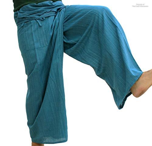 RaanPahMuang Brand Light Striped Cotton Tall Thai Fisherman Wrap Pants, X-Large, Teal Green