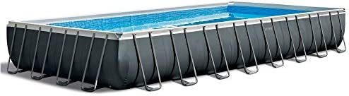 Intex 32 x 16 x 52 Rectangular Ultra XTR Frame Outdoor Above Ground Swimming Pool with Pump, Sand Filter, Pool Ladder, Ground Cloth, and Pool Cover