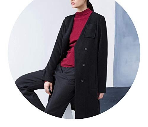 Woolen Coat Causal Solid Pockets V-Neck Single Breasted LooseJacket Coat,Black Woolen Coat,XL