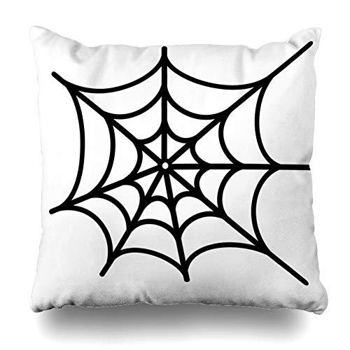 Ahawoso Throw Pillow Cover Pattern Cobweb Spider Net Spiderweb Goth Tattoo Trap Haloween Design Decorative Pillowcase Square Size 20