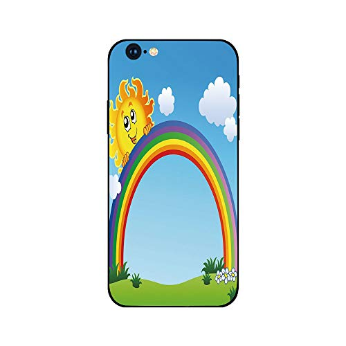 Phone Case Compatible with iphone6 iphone6s mobile phone covers phone shell Brandnew Tempered Glass Backplane,Rainbow,Fun Sun Holding Rainbow on Green Hill with Clear Sky Child Friendly Image Decorati