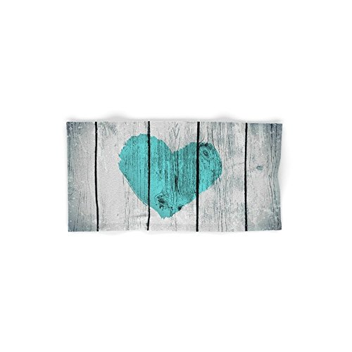 Society6 Teal Rustic Heart On Country Wood Hand Towel 30''x15'' by Society6 (Image #1)