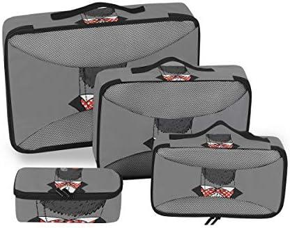 グレイジェントルマンペンギン荷物パッキングキューブオーガナイザートイレタリーランドリーストレージバッグポーチパックキューブ4さまざまなサイズセットトラベルキッズレディース