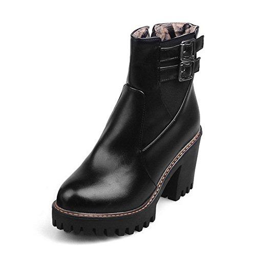 AgooLar Women's High-Heels Soft Material Low-Top Solid Zipper Boots with Metal Black HlzQHkNSVP