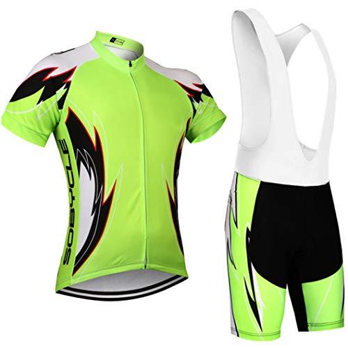 Fluor Yellow Pro Cycling Jersey 12D Gel Pad Bibs Shorts Set Racing Team Cycling -