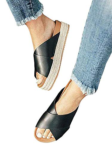 SurBepo Women's Platform Espadrilles Criss Cross Slide-on Open Toe Faux Leather Studded Summer Sandals (7.5 B(M) US-EU Size 38, 2-black)