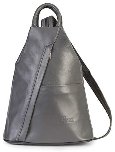 (LiaTalia Unisex Soft Italian Leather Convertible Strap Small Backpack Rucksack Duffle Bag - Alex [Dark Grey])